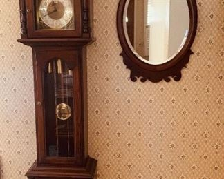Howard Miller clock and Federal style mirror