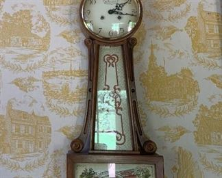 Clock with reverse painting decorated