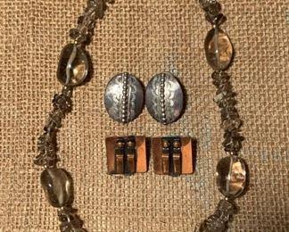 Vintage quartz stone necklace, copper and silver designer earrings