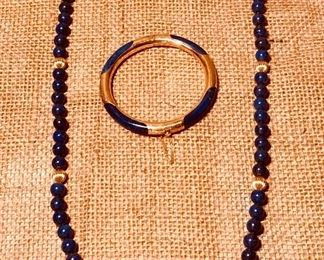 14K Gold and lapis bracelet and necklace