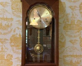 Sessions wall clock w/burned wood case