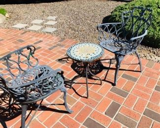 Bistro set - two chairs and a tile top table