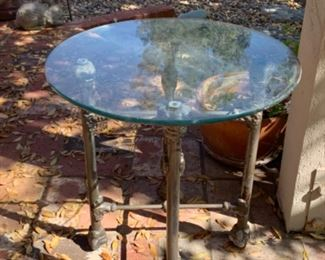 Nice brass base table with glass top