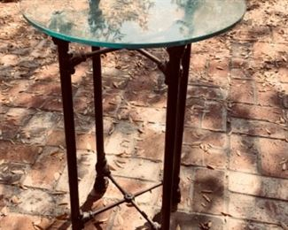 Another side table w/brass base and glass top