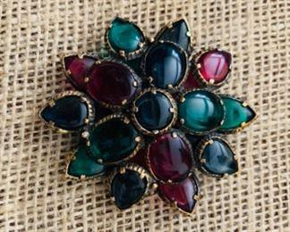 Trifari multi-colored stone brooch