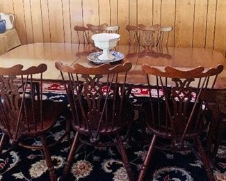 Old Thistle Cherry harvest table length (one additional leaf included), with six side chairs and two arm chairs