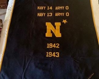 1942 1943 naval Academy football wool blanket with the scores if the Navy - Army games in 1942 and 1943