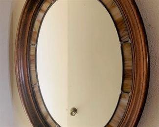 Slag glass, stained glass bezel mirror in walnut frame