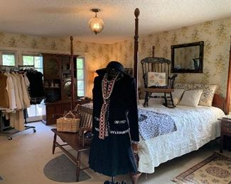 Old Hickory four poster cherry pencil post bed and Windsor bench