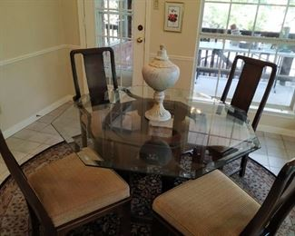 """Glass top octagonal table- 48"""" diameter  and 4 chairs"""""""