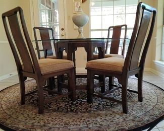 """Glass top octagonal table- 48"""" diameter  and 4 chairs"""