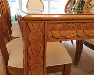 """Formal dining table and six chairs, glass inset, carved legs, 84"""" long shown with one leaf, 44"""" wide, comes with additional 17"""" leaf"""