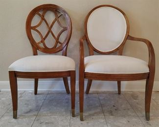 4 dining chairs(left) and 2 host chairs (right) with formal dining table