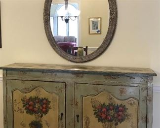 Oval gilded wall mirror, Italian style hand painted sideboard/cabinet