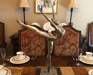 Arabesque, by Rebecca Anelise Clark. Simply spectacular bronze ballerina. A limited edition, this piece is signed and numbered 330/500. Ms. Clark has created over 100 masterworks. Her depiction of two battling stallions stands over 24 feet tall. Her pieces are now commanding prices in excess of $500,000