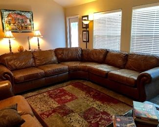 """Bernhardt leather sectional sofa. Three pieces.  Dimensions: Width 112"""" Depth 112"""" Height 37 1/2"""" Arm Height 27 1/2"""" Seat Depth 20"""""""
