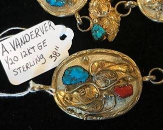 """A. Vanderver Sterling Concho Belt 38"""" 1/20th 12Kt GF"""