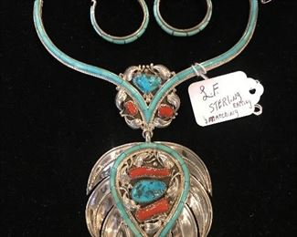 Signed L.F. Sterling inlay necklace with matching inlay turquoise half hoop earrings