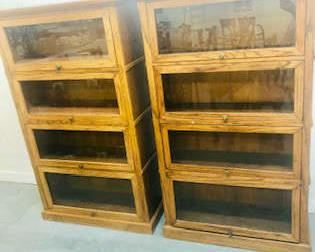 pr. Oak Vintage Legal Bookcases . Excellent Condition . Being Sold Individually
