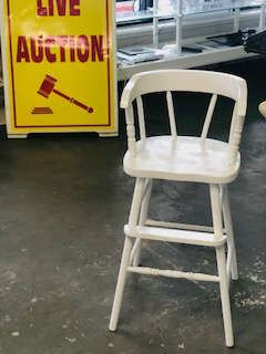Old Wooden Youth Chair for Child . painted white in excelent condition