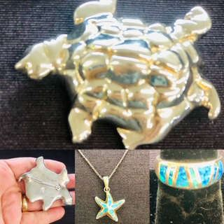 Sterling Silver Designer sea themed Jewelry . Large Turtle Brooch , Inlaid opal ring , and  Sterling Silver Inlaid Opal starfish Necklace