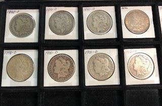 Antique Morgan Silver Dollars . There are 11 of them and most are New Orleans Mint . 1891-1904 . Selling Individually