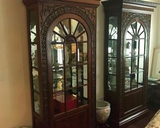 """Pair of Harrods signed bookcases with bevel glass 36""""Wx15""""Dx92""""H"""