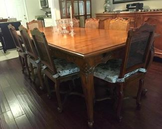 Country French table with extensions 13' L and 10 chairs & 4 arms