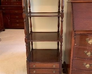 """Mahogany display shelves with two drawers. 16.5""""x14.5""""x48""""$75"""