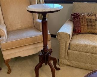 """#4 Gold loveseat $20 #5 Marble top plant stand 36"""" $75"""