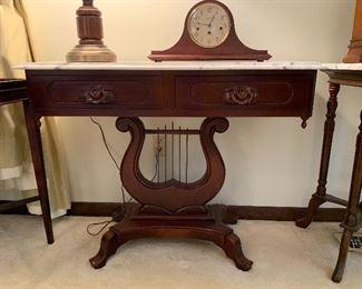 "#9 Victorian mahogany harp base marble top console 38""x15.5""x29"" $250"