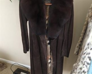 FOX TRIM? SUEDE LEATHER COAT