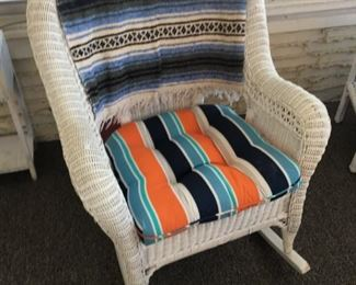 WICKER PATIO ROCKER CHAIR AND TABLE