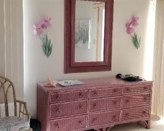 Wicker dresser & mirror; matching nightstand available
