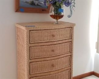 Wicker tall chest of drawers
