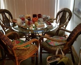 Glass top rattan table with 4 chairs
