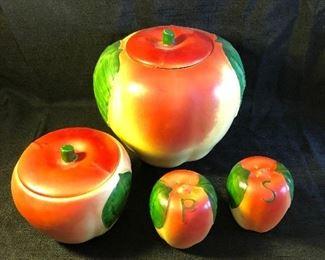 Hull Blushing Apple Cookie Jar Salt Pepper Shaker Grease Pot Yellow Mid Century