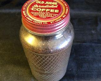 Vintage Old Judge Coffee Jar