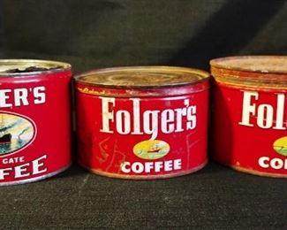 Vintage Folger's Coffee Tins
