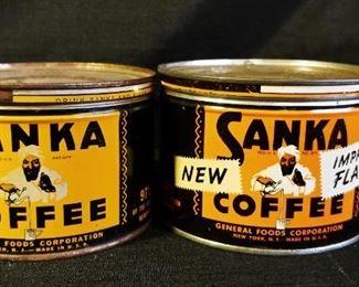 Vintage Sanka General Foods Coffee Tins