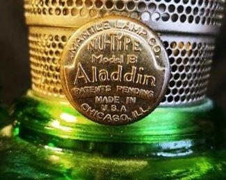 Aladdin Washington Drape Green Oil Lamp