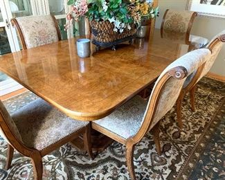 Hendredon Dining Table and chairs - Charles 10th Collection. Table is in excellent condition and comes with two extra leaves and six chairs.