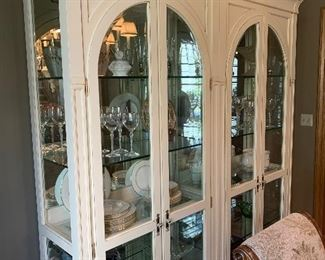 """Ethan Allen Display cabinet with refinished enameling and antique finish. Approximately 68"""" wide by 80"""" tall"""