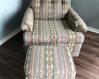 Vintage re-upholstered arm chair & ottoman