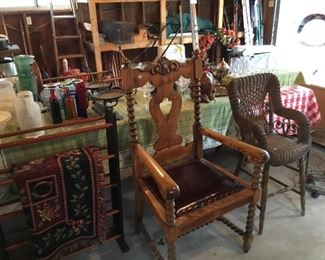 Awesome antique carved wood/leather chair