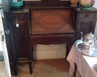 Drop front oak desk