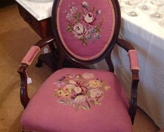 Lovely Victorian chair with needlepoint upholstery