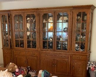 large 4 pc Thomasville display/curio cabinets-  will pre-sell this item only. Call for appointment 817-507-7757 - end cabinets are 24x18x80 ea. Middle cabinets are 36x18x80 ea.  Paid $3300    Call for pricing.