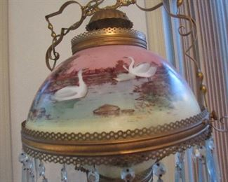 vintage converted oil/electric hanging lamp w/prisims