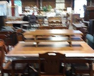 SEVERAL VINTAGE WOODEN TABLE SETS 150.00